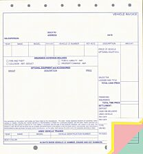 "Vehicle Invoice 9-1/8"" x 8-1/2"""